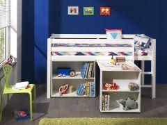 Lit mi-hauteur Charlotte avec bureau et bibliothèque - blanc