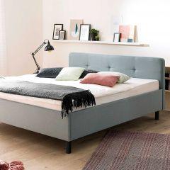 Lit Azis 180x200 avec pieds en bois massif - bleu/graphite