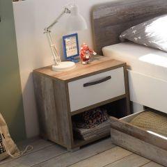Table de chevet Petrus avec 1 tiroir - blanc/bois flottant