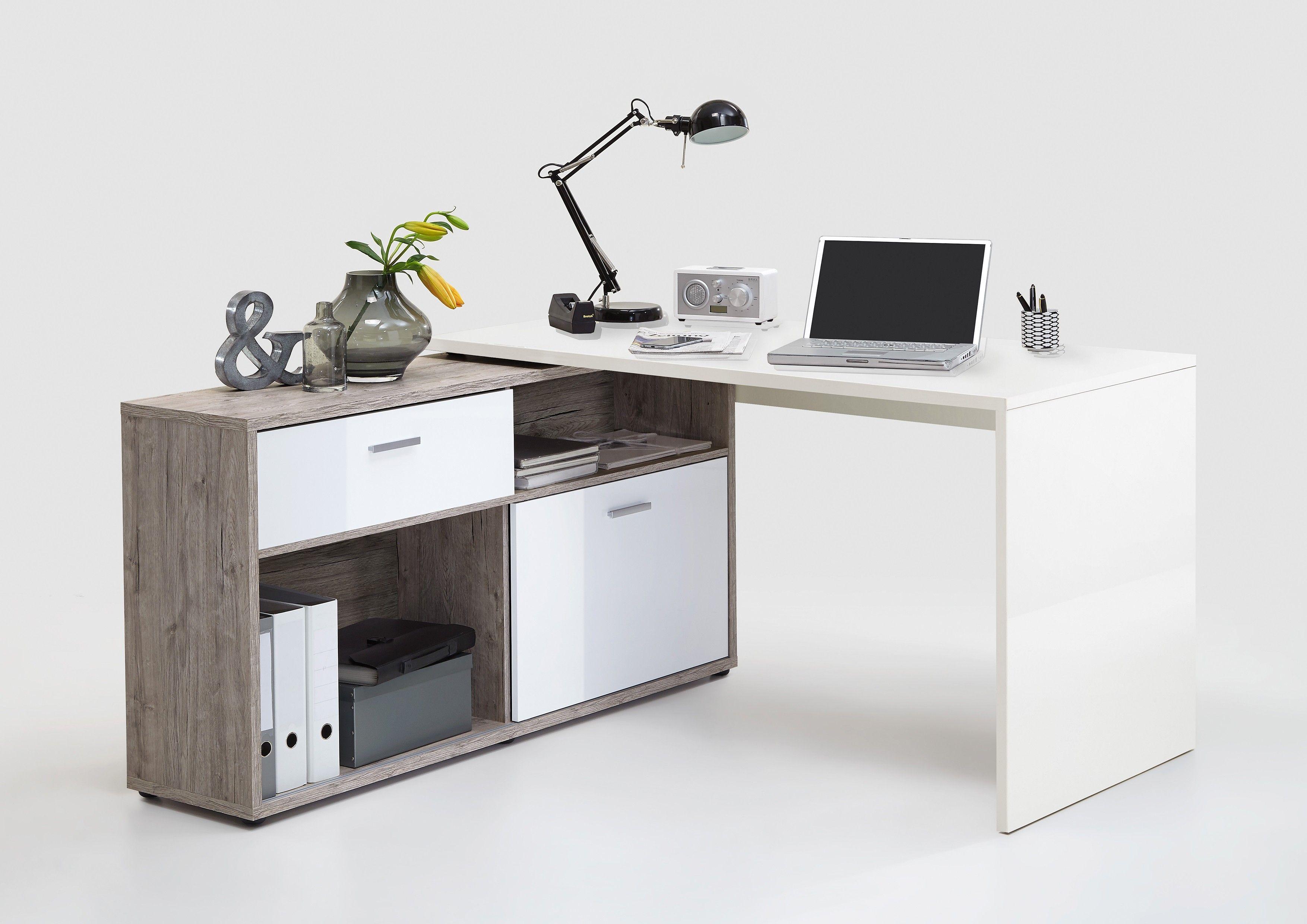 Bureau Enfant 2 Ans bureau d'angle diego - blanc brillant/chêne gris