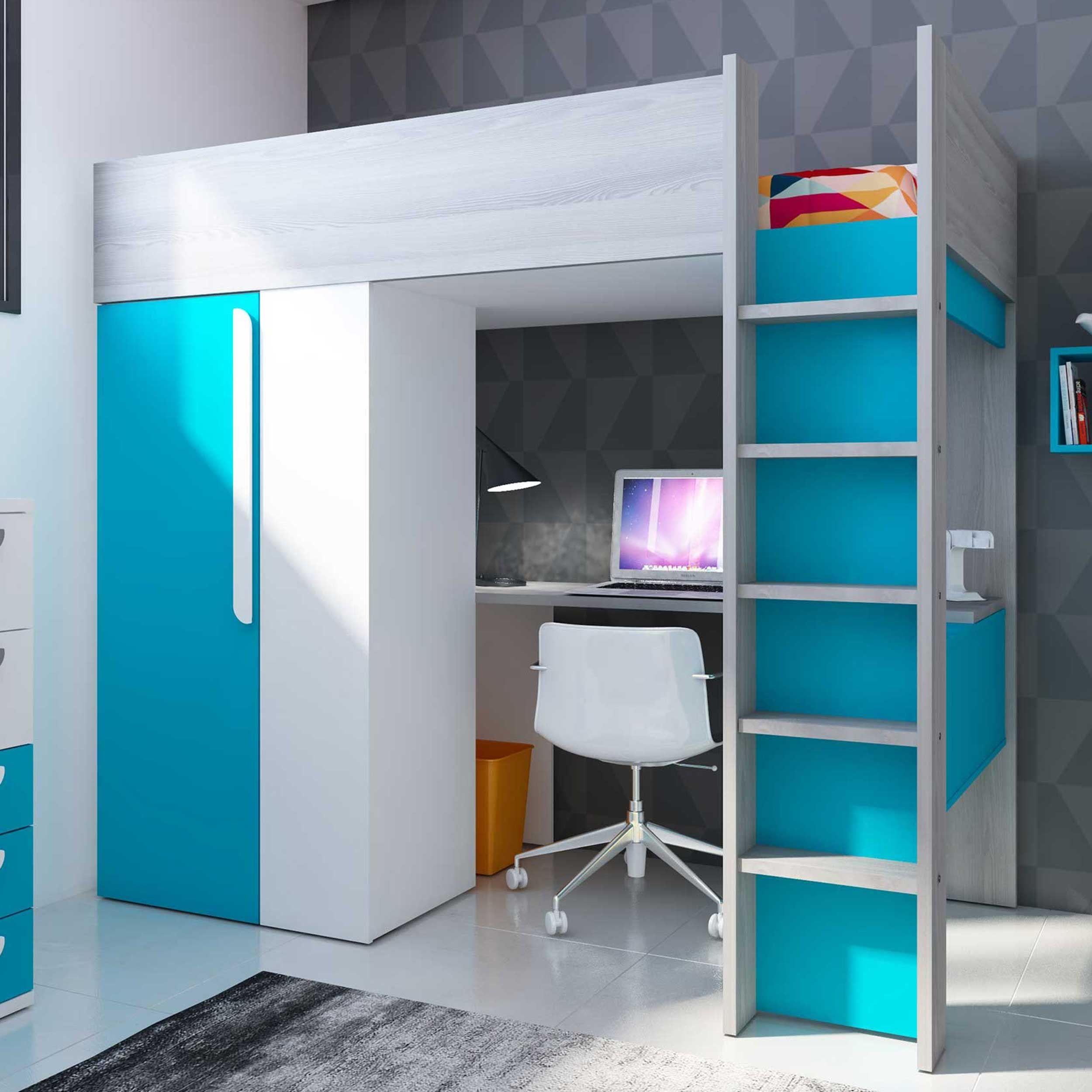 lit mezzanine beau avec bureau et armoire bleu