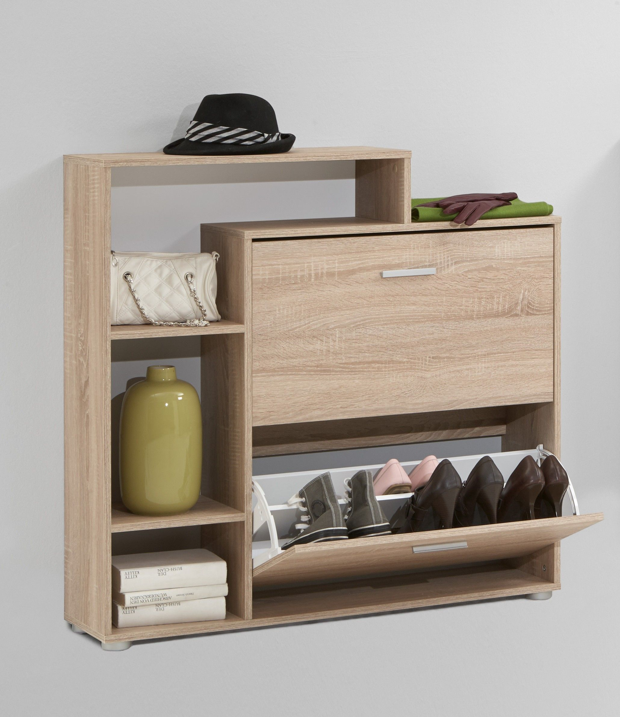 Armoire A Chaussures Penny Avec Etagere Chene Fmd Emob