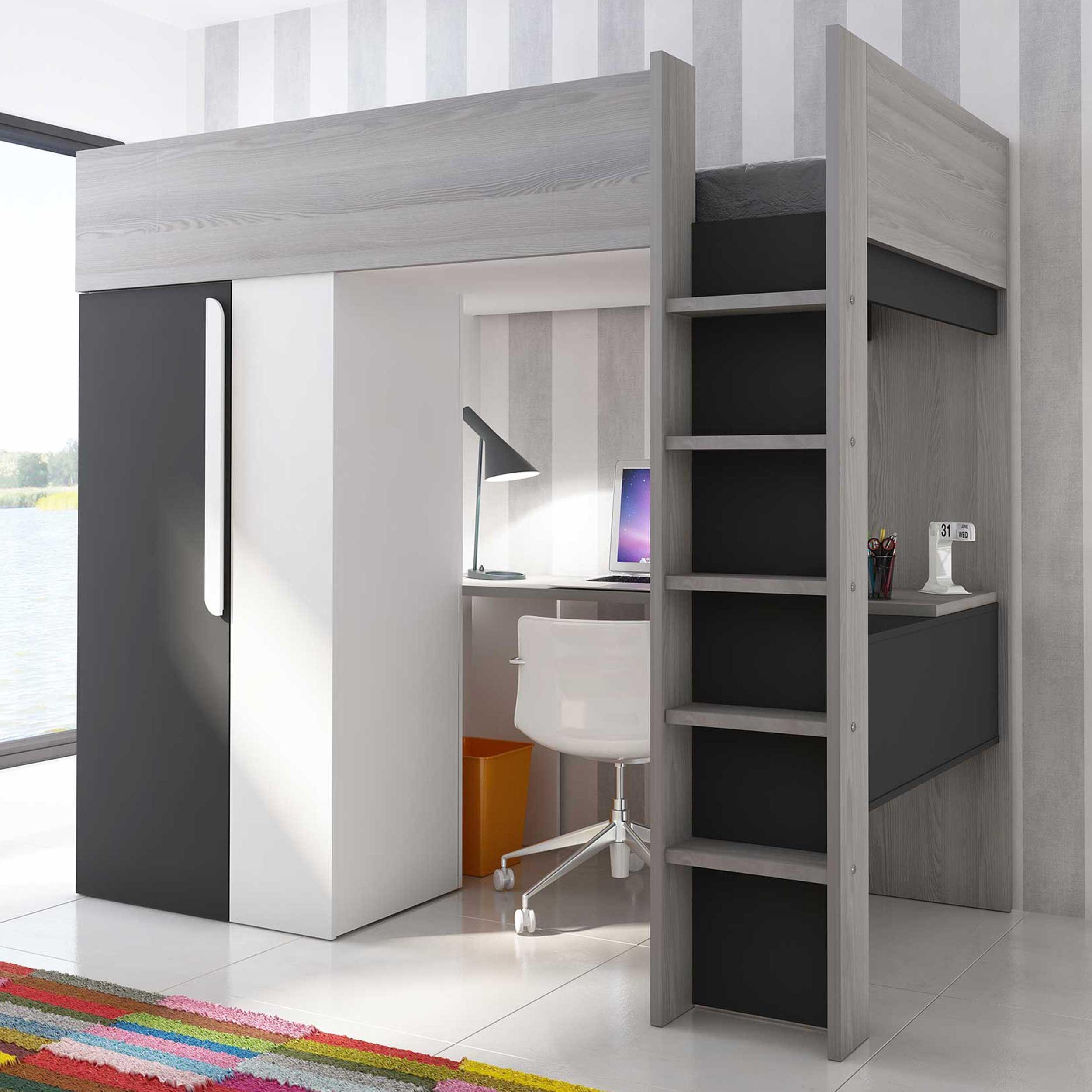 Lit Mezzanine 2 Adultes bo9 high sleeper bed 200 cm graphite