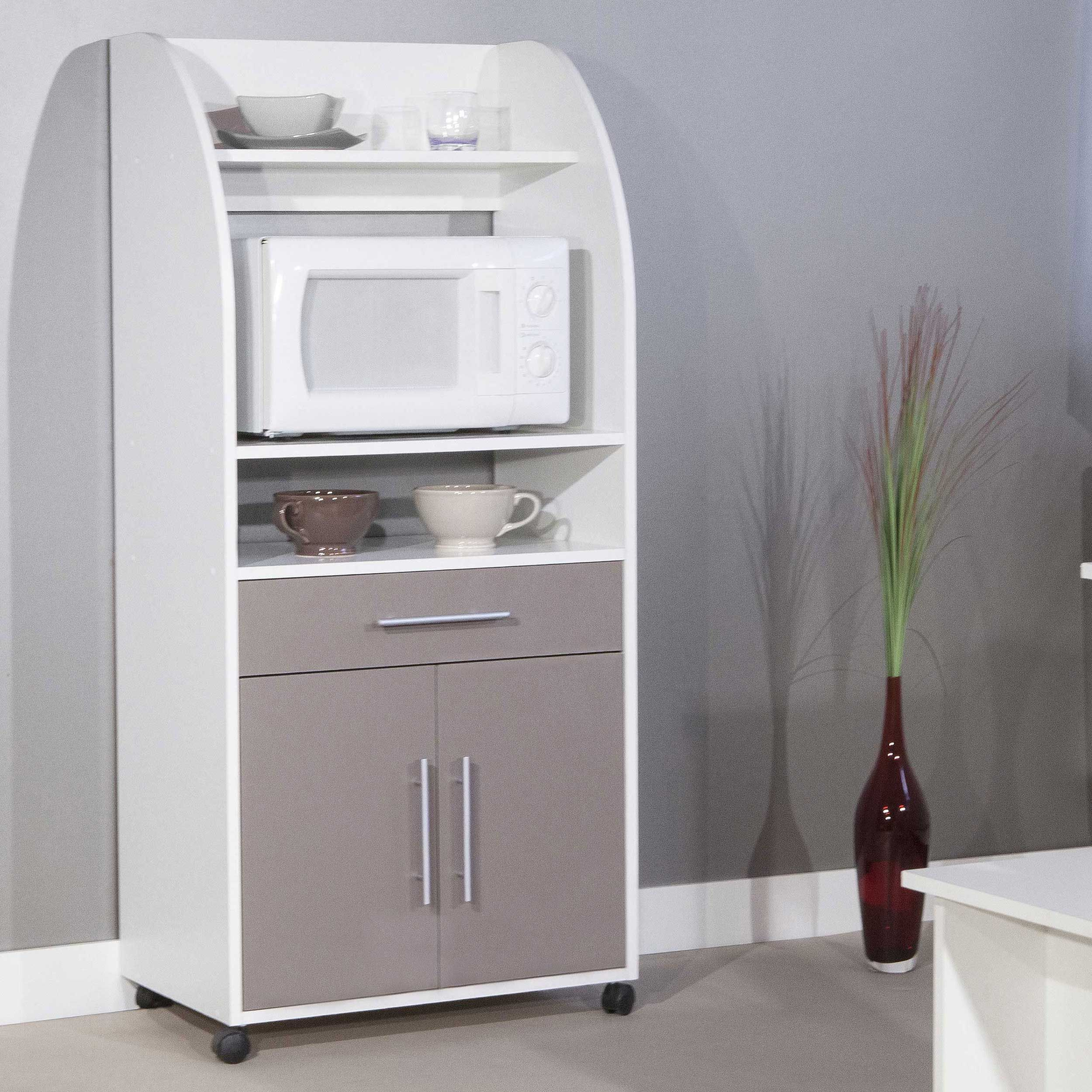 Meuble Micro Onde Et Four armoire d'appoint jeanne pour four à micro-ondes - blanc/taupe