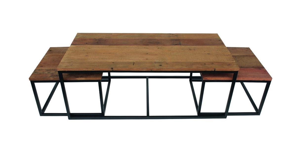 Table Gigogne Hamilton Set De 3 Bois Metal Emob Meubles Fr