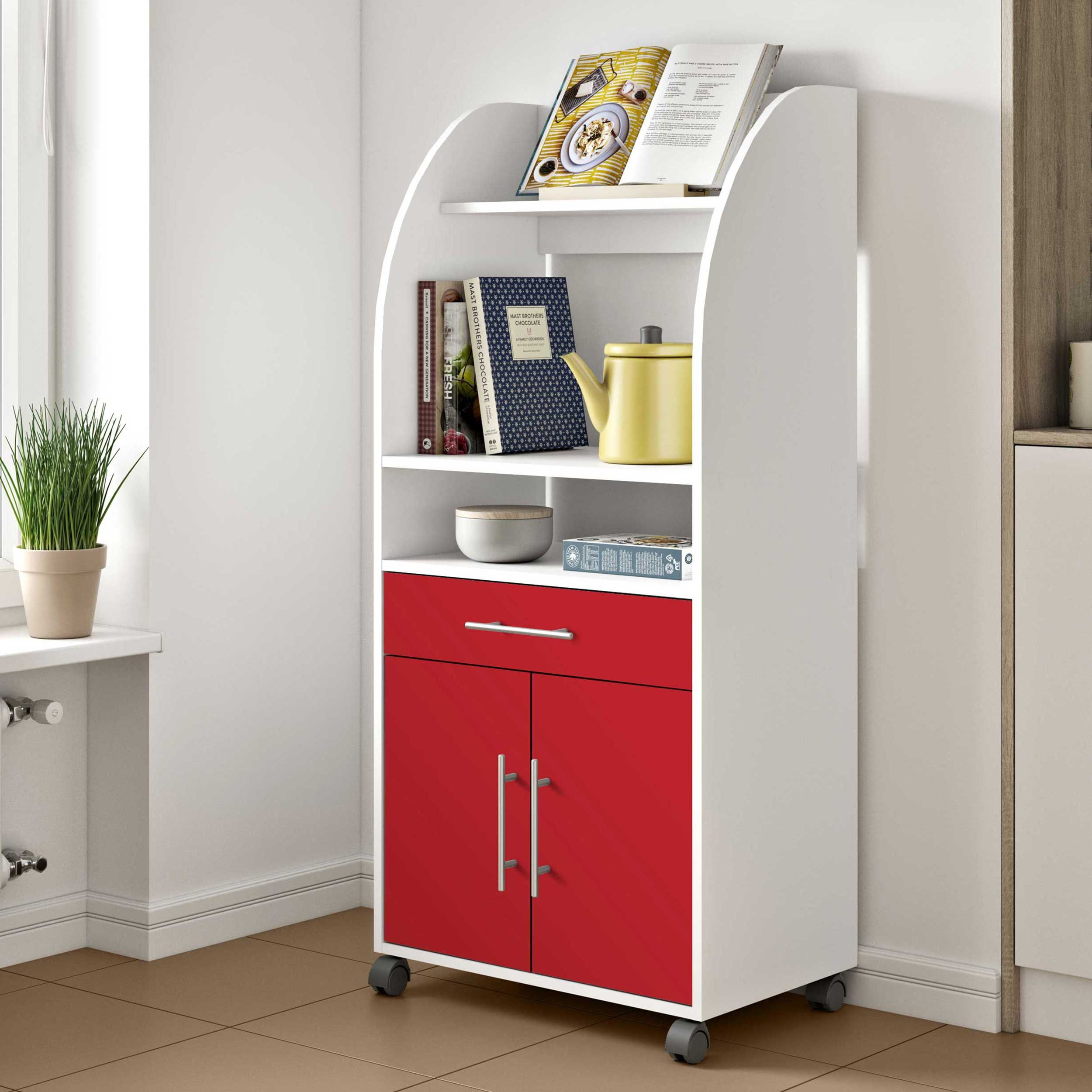 Armoire D Appoint Jeanne Pour Four A Micro Ondes Blanc Rouge Temahome Emob