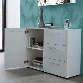 Commode Scifo avec 1 porte & 3 tiroirs - blanc