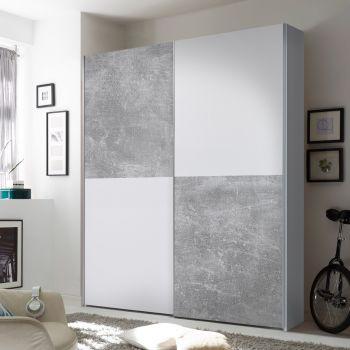 Armoire à vêtements Wouter 170cm avec 2 portes - béton/blanc