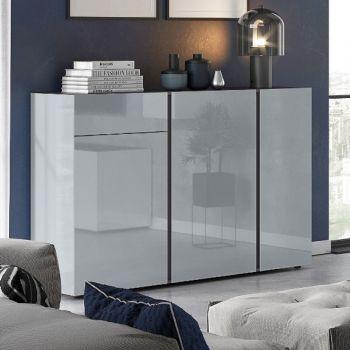 Bahut Mussa 3 portes & 1 tiroir 152cm - gris