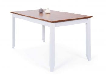 Table à manger Westerland 160x90cm - blanc/brun