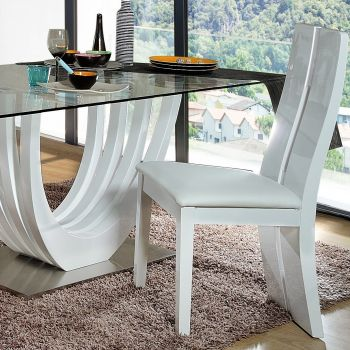 Lot de 2 chaises Ovar - blanc brillant
