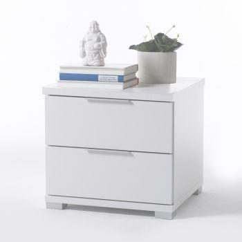 Table de chevet Nacho 46cm avec 2 tiroirs - blanc