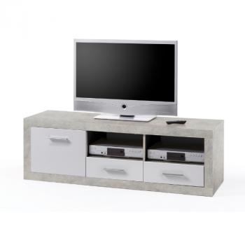 Meuble tv Brekalo 147cm - béton/blanc