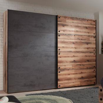 Armoire à vêtements Kalas 270cm avec 2 portes - gris/brun