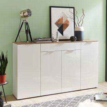 Bahut Ceras 179cm avec 4 portes & 1 tiroir - blanc/chêne