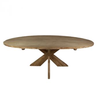 Table à manger Mosy 240x120 ovale au pied croisé - naturel/teak