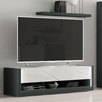 Meuble TV Eloa 150cm - blanc brillant/noir