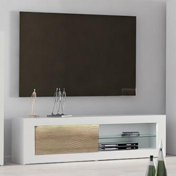 Meuble TV Kaia 170cm - blanc brillant/chêne