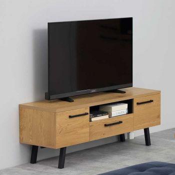 Meuble TV Manon 140cm - chêne/noir