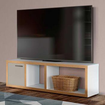 Meuble TV Berkeley 150cm - blanc/contreplaqué