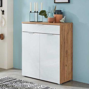 Commode Tille 89cm avec 2 portes & 1 tiroir - blanc/chêne
