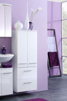Armoire salle de bains Small 50cm 2 tiroirs & 2 portes - blanc brillant
