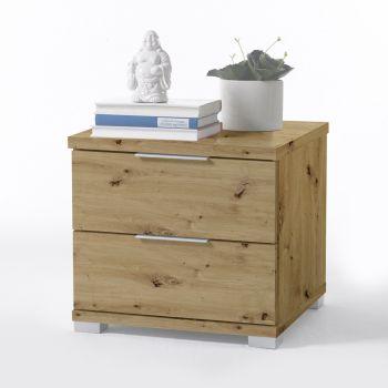 Table de chevet Nacho 46cm avec 2 tiroirs - vieux chêne