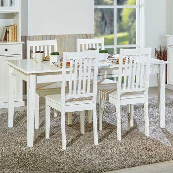 Table à manger Westerland 160x90cm rurale - blanc