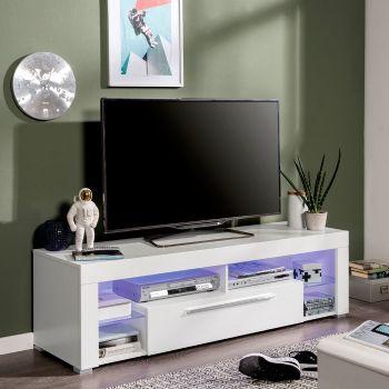Meuble tv Gazza 153cm avec 1 porte - blanc