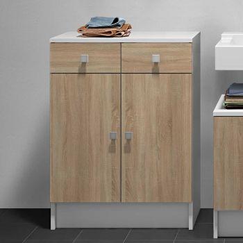 Armoire salle de bains Variety - blanc/chêne