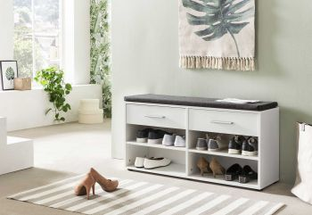 Armoire à chaussures Karin 2 tiroirs avec coussin - blanc