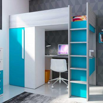Lit mezzanine Beau avec bureau et armoire - bleu