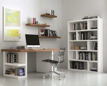 Bureau Multis 180cm - blanc/noyer