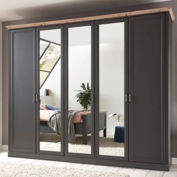 Armoire à vêtements Jacco 266cm avec 5 portes - graphite/chêne