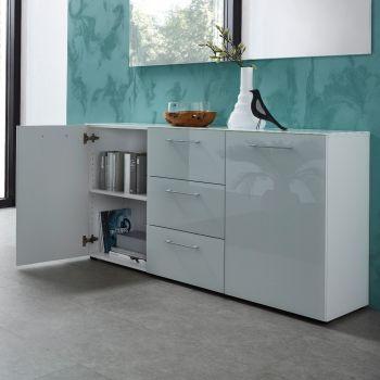 Bahut Scifo avec 2 portes & 3 tiroirs - blanc