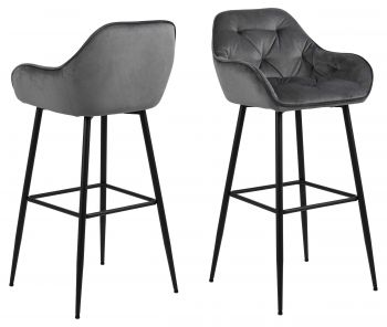Lot de 2 chaises de bar Bridget - gris/noir