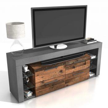 Meuble TV Vidi 180 cm - foncé/bois vieilli