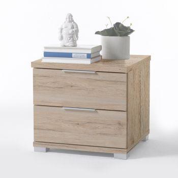 Table de chevet Nacho 46cm avec 2 tiroirs - chêne san remo