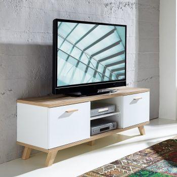 Meuble tv Ousmane 144cm avec 2 portes & 1 étagère - blanc/chêne