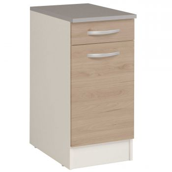 Meuble bas Oke 40x60 cm avec tiroir et porte - chêne