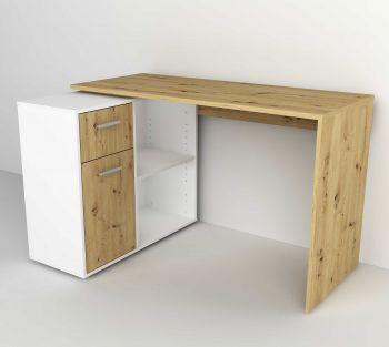Bureau d'angle Albrecht 117cm - chêne artisan/blanc