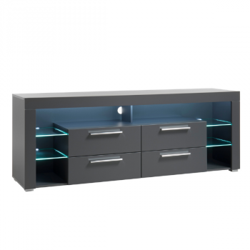 Meuble tv Gazza 179cm avec 4 tiroirs - gris mat