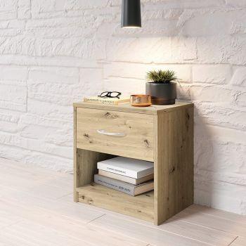 Table de chevet Beppu avec 1 tiroir - vieux chêne