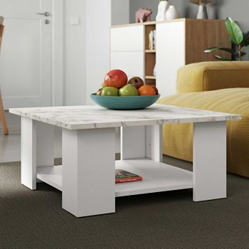 Table basse Square 67x67 - blanc/marbre
