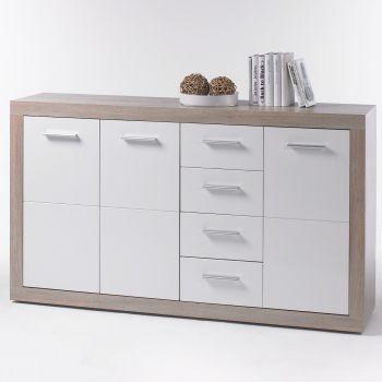 Bahut Brekalo 152cm avec 3 portes & 4 tiroirs - chêne sonoma/blanc