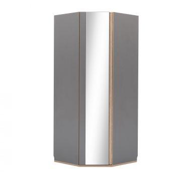 Armoire d'angle avec porte miroir Birger - gris