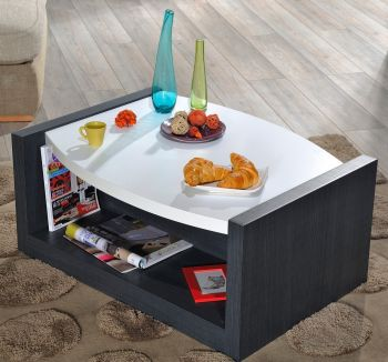 Table basse Eloa 90x68 - blanc brillant/noir