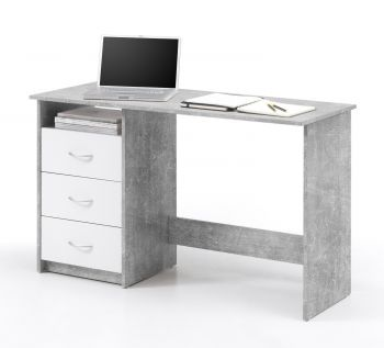 Bureau Adriano 123cm 3 tiroirs - béton/blanc