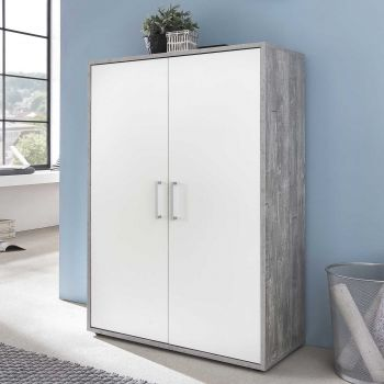 Armoire Maxi-office 2 portes - béton/blanc