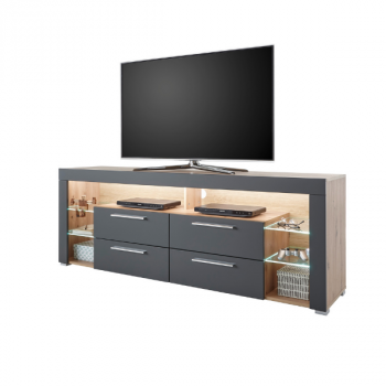 Meuble tv Gazza 179cm avec 4 tiroirs - gris/chêne